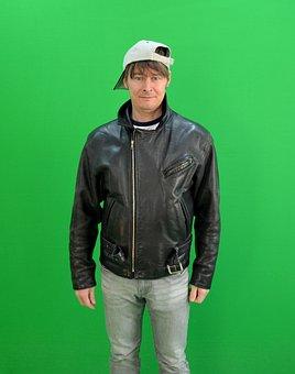 Man, Greenbox, Chroma Key, Leather Jacket, Cap, Medium