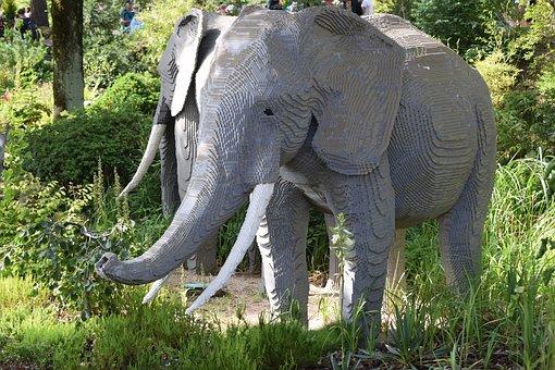 Fun, Lego, Legoland, Denmark, Billund, Elephant