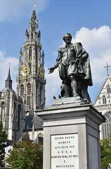 Statue, Rubens, Monument, Antwerp, Cathedral, Church