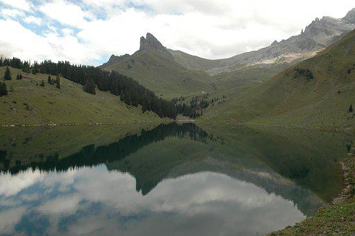 Bergsee, Alpine Lake, Mirroring, Reflection, Mountains