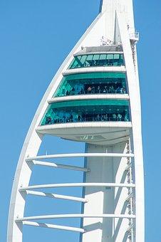 Portsmouth, Tower, Viewing Platform, Harbor, Sail