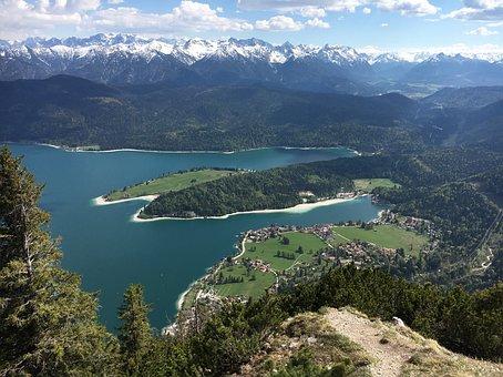 Walchensee, Herzogstand, Lake, View, Sky, Water