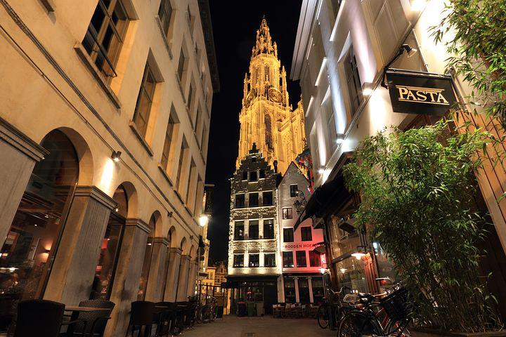 Belgium, Antwerp, Streetscene, Church, Tower