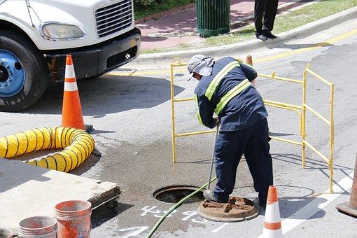 Worker, Street, City, Works, Road, Urbanism, Signaling