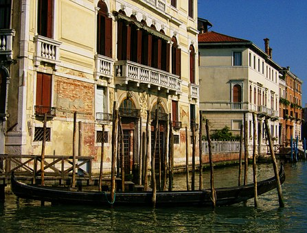 Gondola, Venice, Water, Buildings, Great Channel, Italy