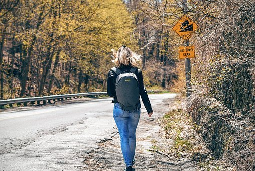 Asphalt, Backpack, Bag, Blonde, Branches, Crack