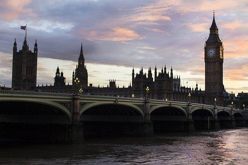 London, Architecture, Bridge, Center, Monuments, Sunset
