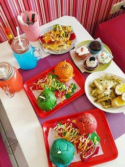 Burgers, Fries, Nachos, Colorful, Food, Foodie, Bun