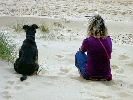 Woman And Dog, Beach Scene, Sand, Dog And Sand