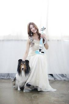 Women's, Violin, Dog, Shooting, Model, Musician