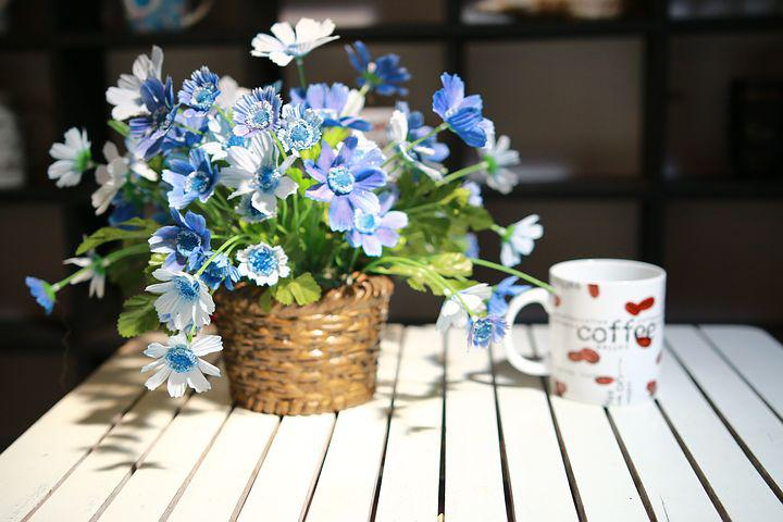 Cup, Flowers, Table