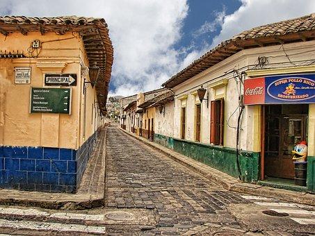 Cobblestone Street, Guatemala, Central America, Village