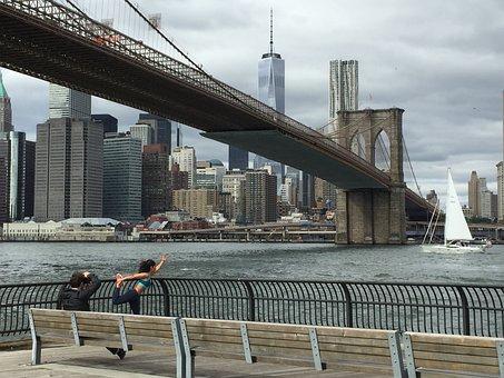 New York, Brooklyn, Brooklyn Bridge, City, Manhattan
