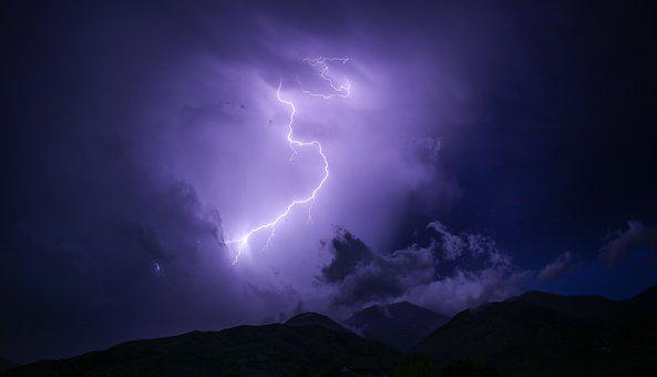 Dark, Lightning, Mountain, Nature, Outdoors, Silhouette