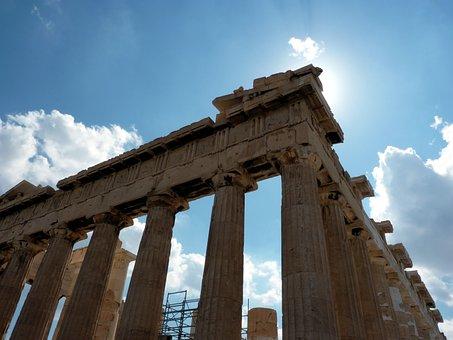 Athens, Parthenon, Greece, Backlight