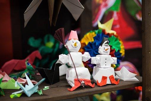 Origami, Japan, Paper, Snowman