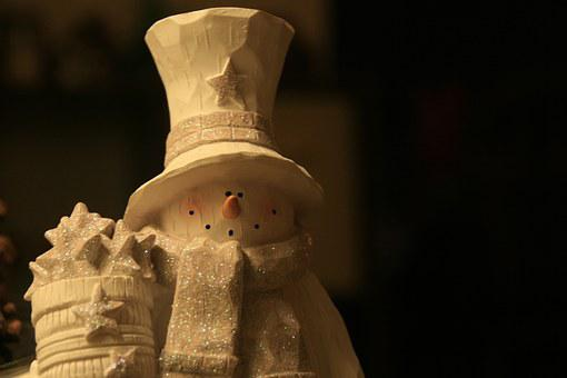 Snowman, Woodcarving, White, Figur, Deco, Decoration