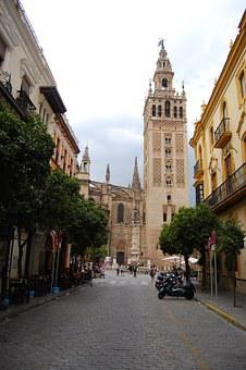 Seville, Andalusia, Spain, Road, Via, Cars, Center