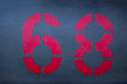 Digits, 68, Red, Fund, Stencil Technique, Sprayed