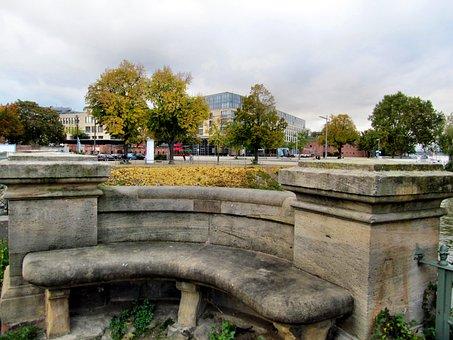 Bench, Stone Bench, Mainz, Winter Haven, Autumn, Bank