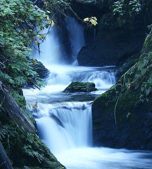 Water, Waterfall, Stream, Fall, Mountain, Trail