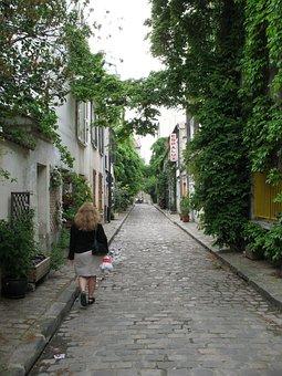 Woman, Walking, Shopping, Paris, France, Side, Street