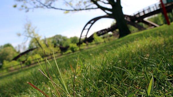 Bridge, Park, Grass, Summer, Midland, Michigan, Green