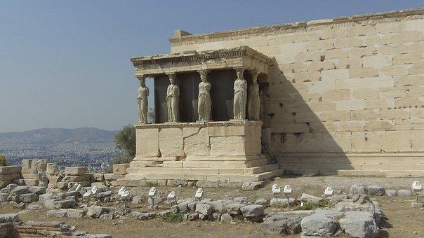 Caryatids, Acropolis, Athens, Greece, Temple, Classical