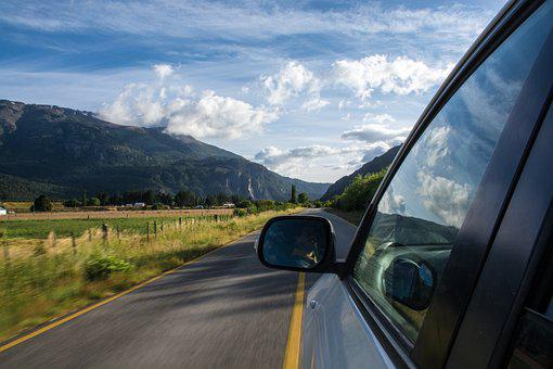 Car, Clouds, Mountains, Road, Side Mirror, Sky, Travel