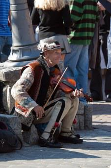 Man, Elderly, Violin, Music, Poland, Street Scene