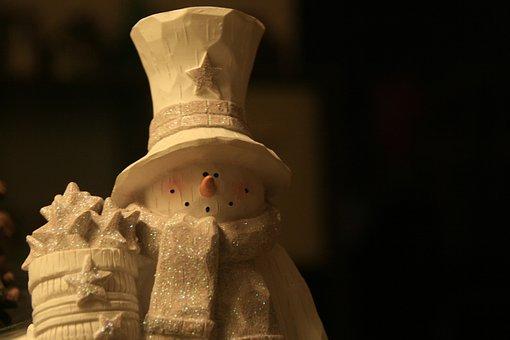 Snowman, Woodcarving, White, Figur, Deco, Decoration