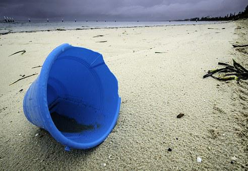Beach, Abandoned, Bucket, Sand, Coast, Plastic, Shore