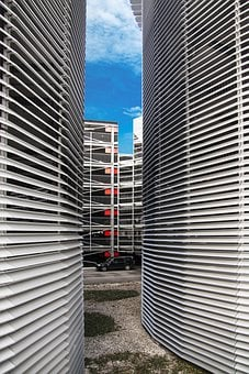 Multi Storey Car Park, Lamellar, Steel, Aluminium