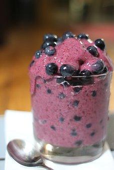 Smoothie, Frozen, Blueberries, Purple, Glass, Spoon