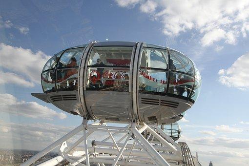 London, London Eye, Pod, People, Uk, Landmark, Britain