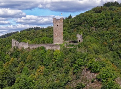 Castle, Obernburg, Manderscheid, Eifel, Burgruine, Blue