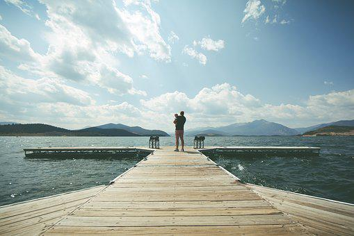 Child, Clouds, Dad, Dock, Father, Lake, Mountain Range