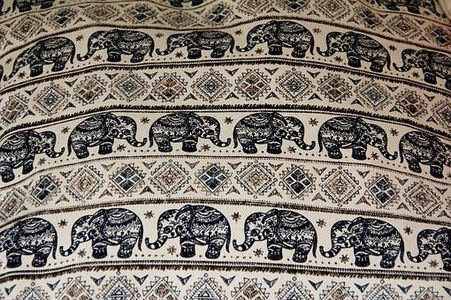 Elephant, Cloth, Blanket, Fabric, Tablecloth, Pattern