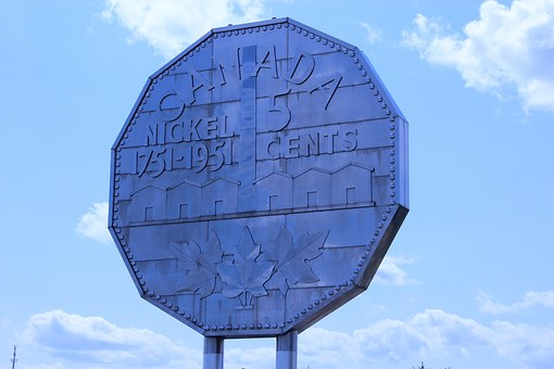 Nickle, Sudbury, Ontario, Canada, Large, Coin, Mining