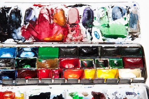 Watercolor Box, Color, Color Wells, Malkasten