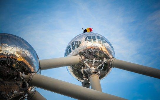 Belgium, Brussels, Atomium, Flag, Sky, Structure, Metal