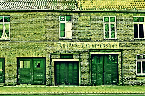 Building, Garage, Home, Doors, Window, Green, Bricks