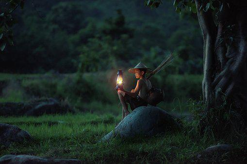 Boy, Sitting, Lantern, Outdoors, Asia, Vietnam, Dawn
