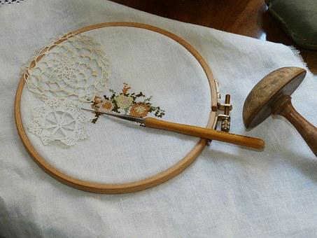 Embroidery, Needle, Fabric, Sew, Tinker, Hand Labor