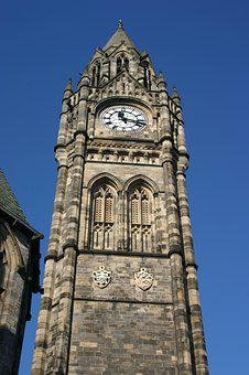 Clock, Clock Tower, Town Hall, Rochdale, Sky, Blue