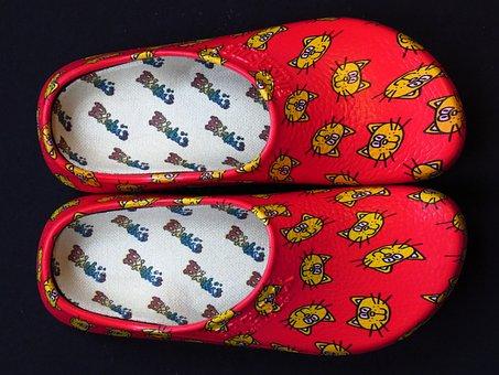 Shoe, Slipper, Clog, Shoes, Slippers, Dutch, Red, Cat