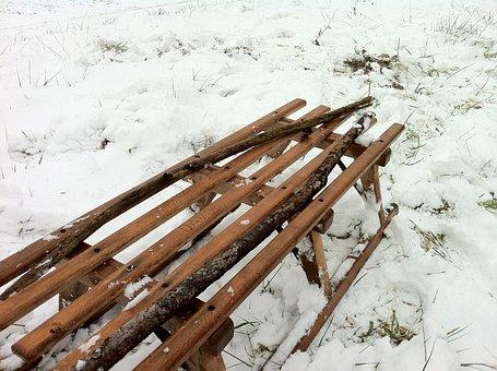 Wooden Sled, Snow, Winter, Toboggan, Davos, Slide