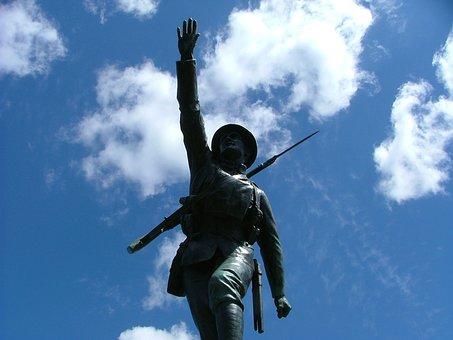 Bridgnorth, Memorial, Soldier, Sky, Tin Hat, Statue