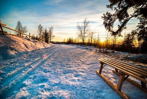 Winter, Slide, Sunset, Tobogganing, Wooden Sled, Snow