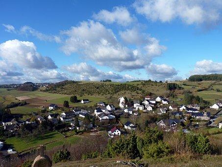Germany, Eifel, Village, Hills, Countryside, Clouds